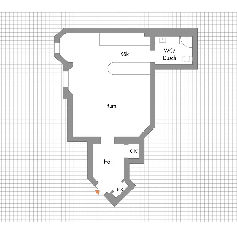 Utsikt mot Danderydsgatan – enkelt att göra om till en 2:a